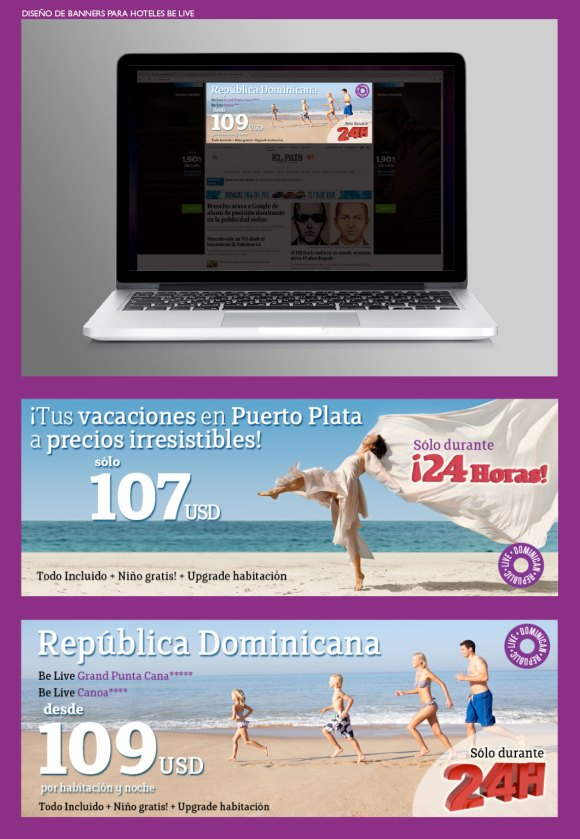 Diseño banners para Hoteles Be Live. Banners publicitarios para la cadena hotelera Be Live. Advertising banners for Be Live Hotels