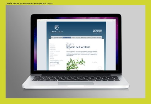 Diseño web Funeraria Salas. Diseño para el website del Grupo Salas. Web design for Salas Group Funeral Home.