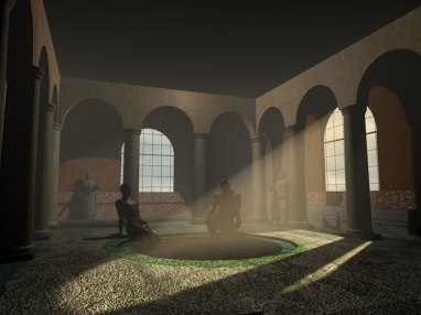 A kind of interior romae thermae scene illustrated with a couple of guys from ancient Civitavecchia.