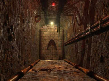 A 3D Illustration of a rusty tunnel