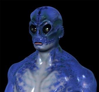 A 3D illustration of a marine creature. Head.