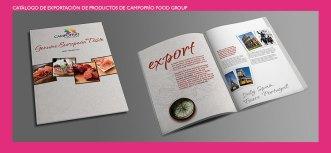 Catálogo de exportación de Campofrío Food Group. Diseño para exportación de productos de CFG. Campofrío Food Group Brochure. Products exportation.