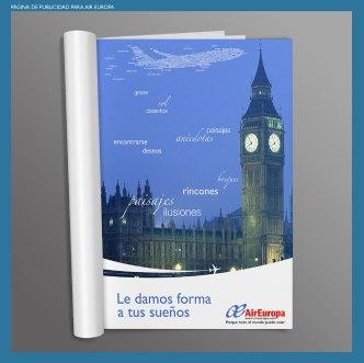 Publicidad para Air Europa. Página de publicidad para la compañía aérea Air Europa. Advertising page for Air Europa airlines.