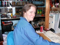 Cathy at her computer