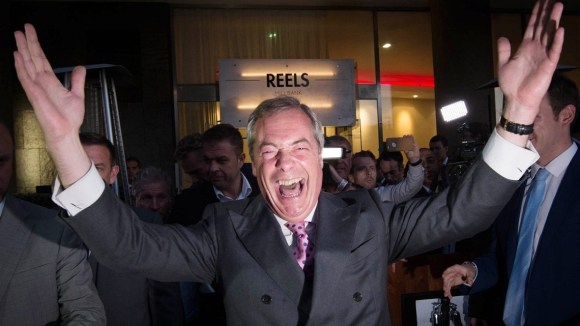 UKIP Leader Nigel Farage speaking in London where he appeared to claim victory for the Leave campaign in the EU referendum.
