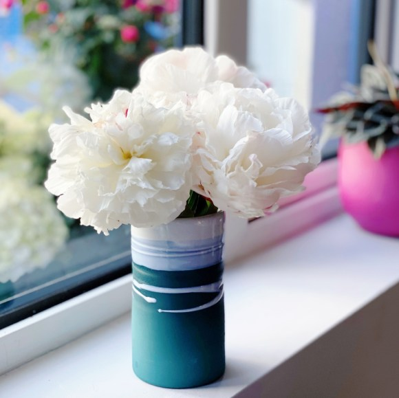 Small vase of peonies