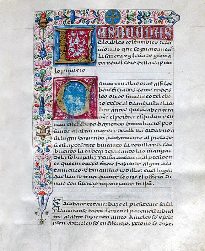 CONSUETA DE LA CATEDRAL DE GRANADA, SIGLO XVI Archivo de la Catedral de Granada