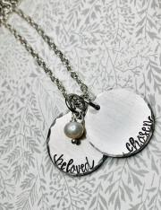 Your Word on 2 Silver Pewter Discs includes 30' silver chain and pearl Comment with sold and your words. $36