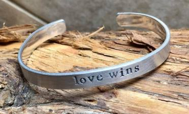 love wins silver cuff, hand stamped. $24