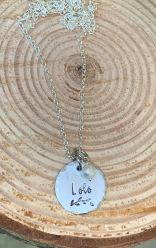 YOUR name hand stamped on 7/8' silver pewter disc with vine and pearl includes 30 silver chain . $30