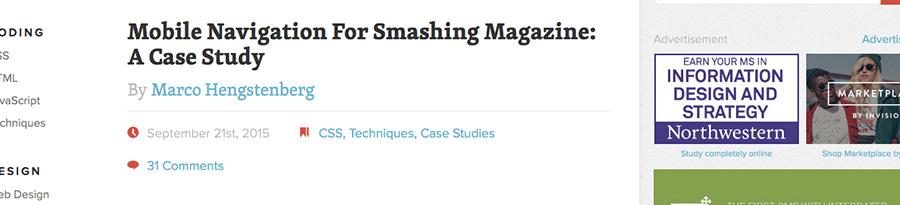 Retour d'expérience de Smashing Magazine pour leur menu mobile