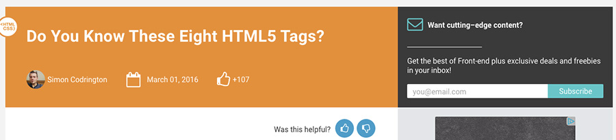 eight importants HTML 5 tags