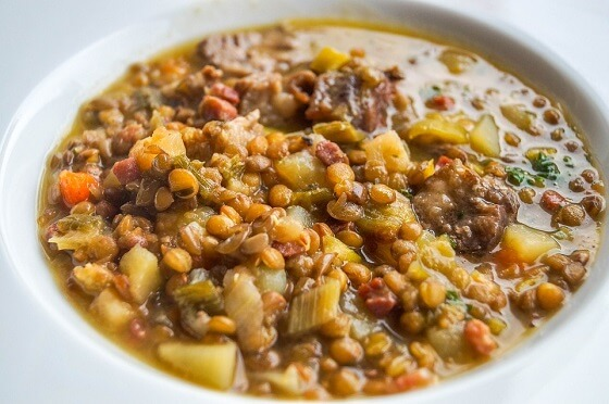 Lentil Mushroom Stew Over Mashed Potatoes