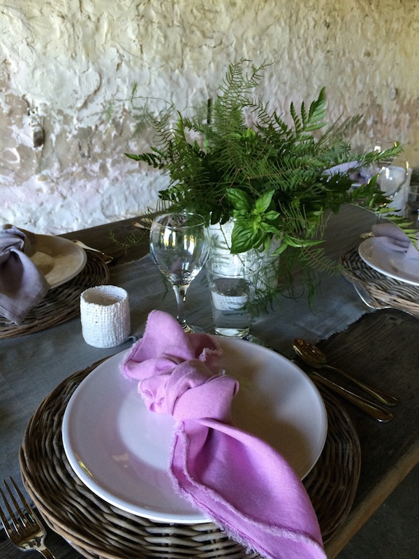 Pink Linen Napkin and Basil Bouquet Epicure Catering and Cherry Basket Farm Barn Dinner