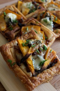 Pumpkin, caramelised onion and blue cheese tart