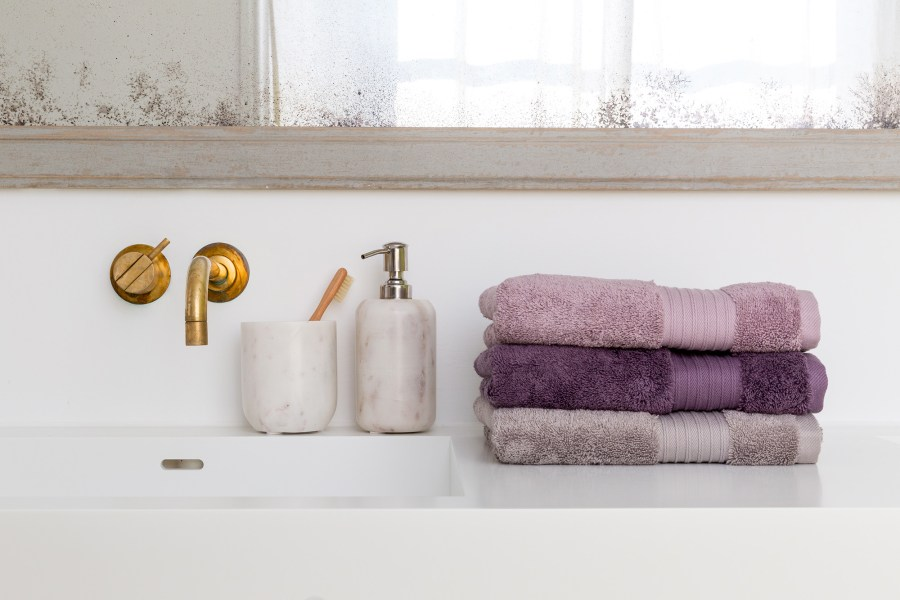 Soak&Sleep - White Marble soap dispenser £12, tumbler £8, Ultimate Supima Cotton hand towels £12 each