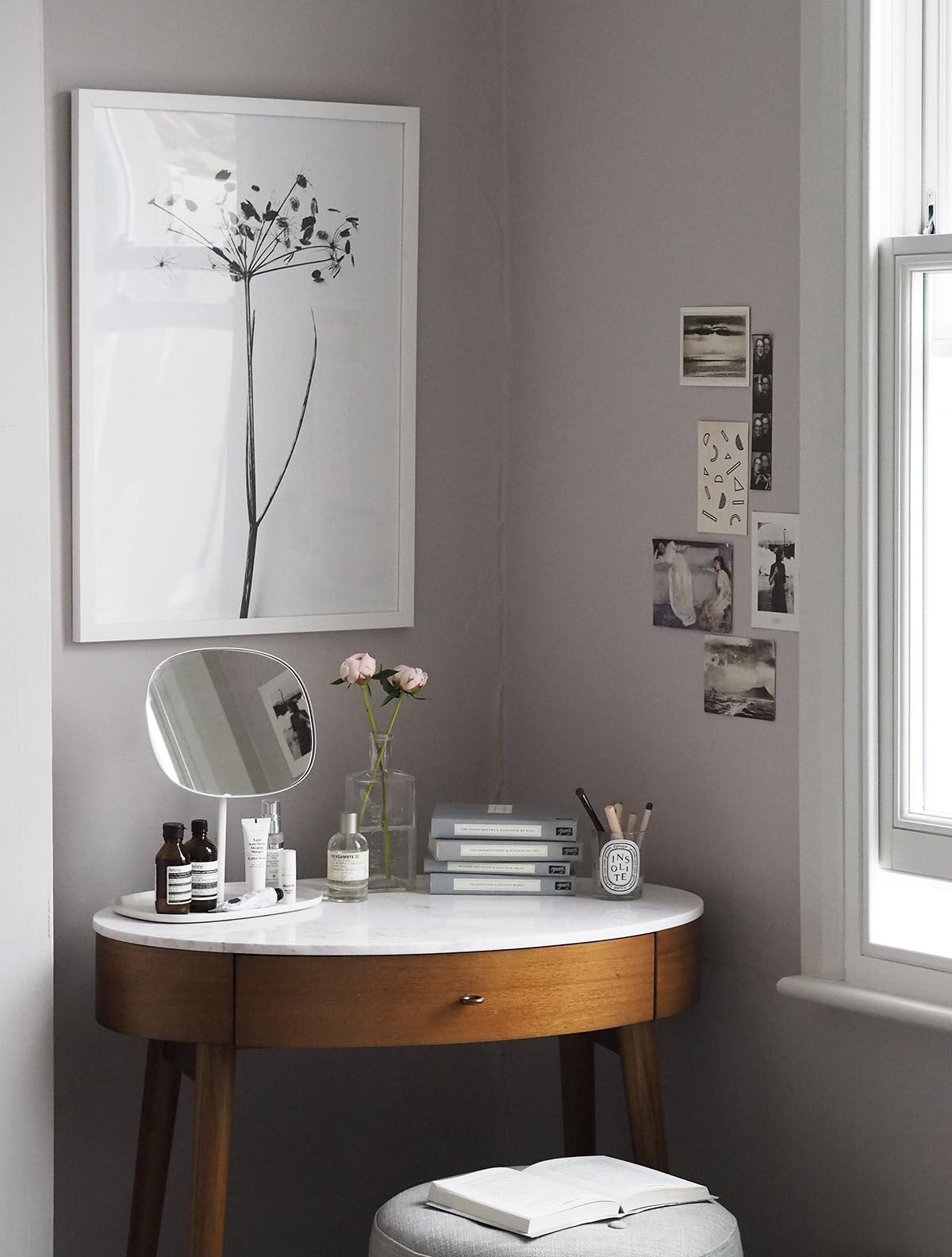 soft blush pink bedroom reveal before after farrow ball peignoir west elm mid century. Black Bedroom Furniture Sets. Home Design Ideas