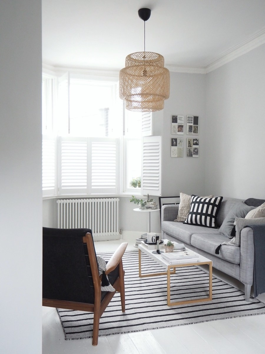 Light scandi living room with a grey IKEA sofa