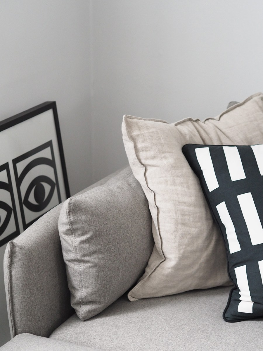 Minimal grey living room - beige corner sofa. Our new Vento grey corner sofa from Made.com