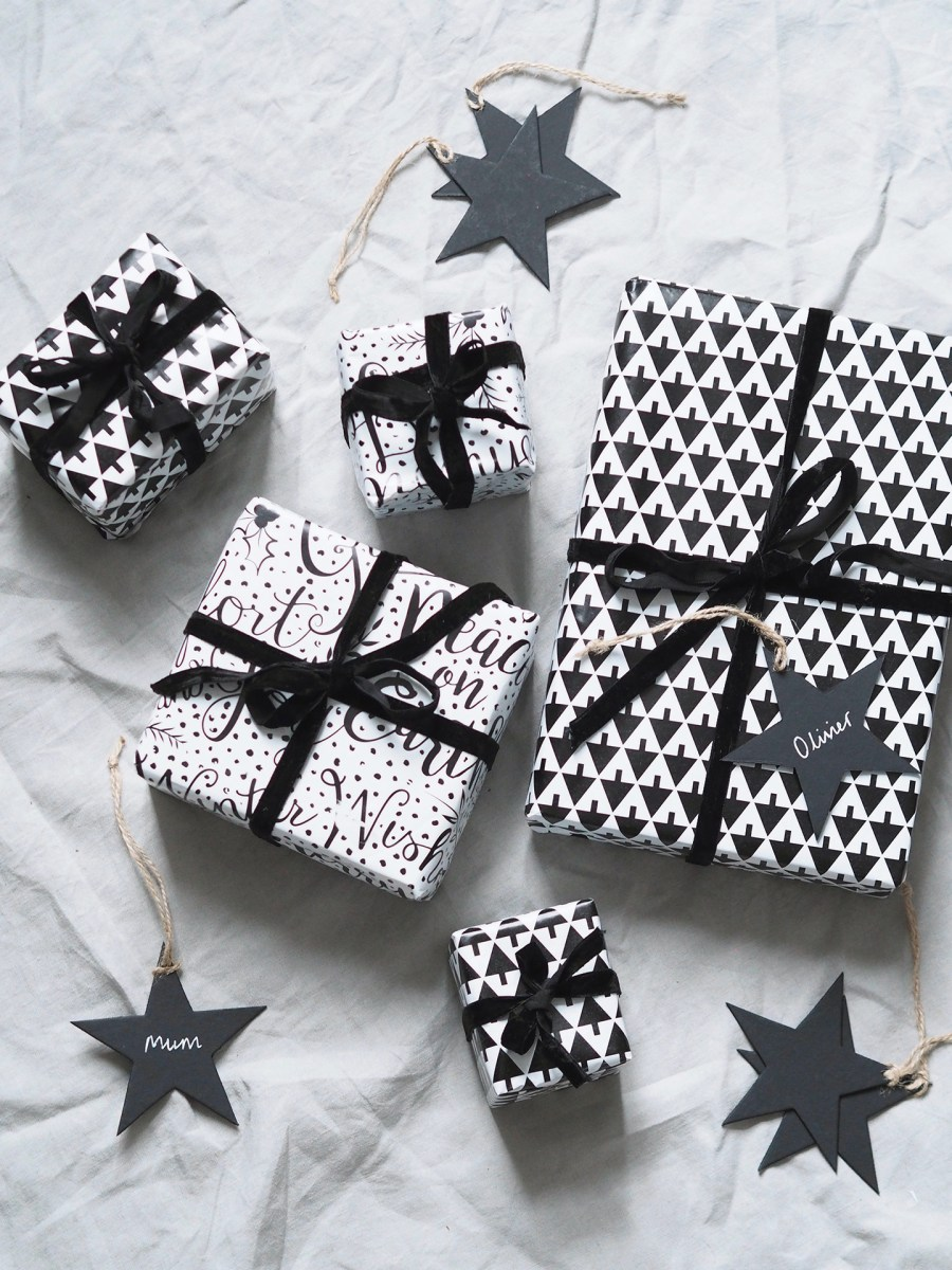 Scandi Christmas wrapping ideas. Black and white wrapping paper. A minimal, monochrome Christmas on a budget with Homesense