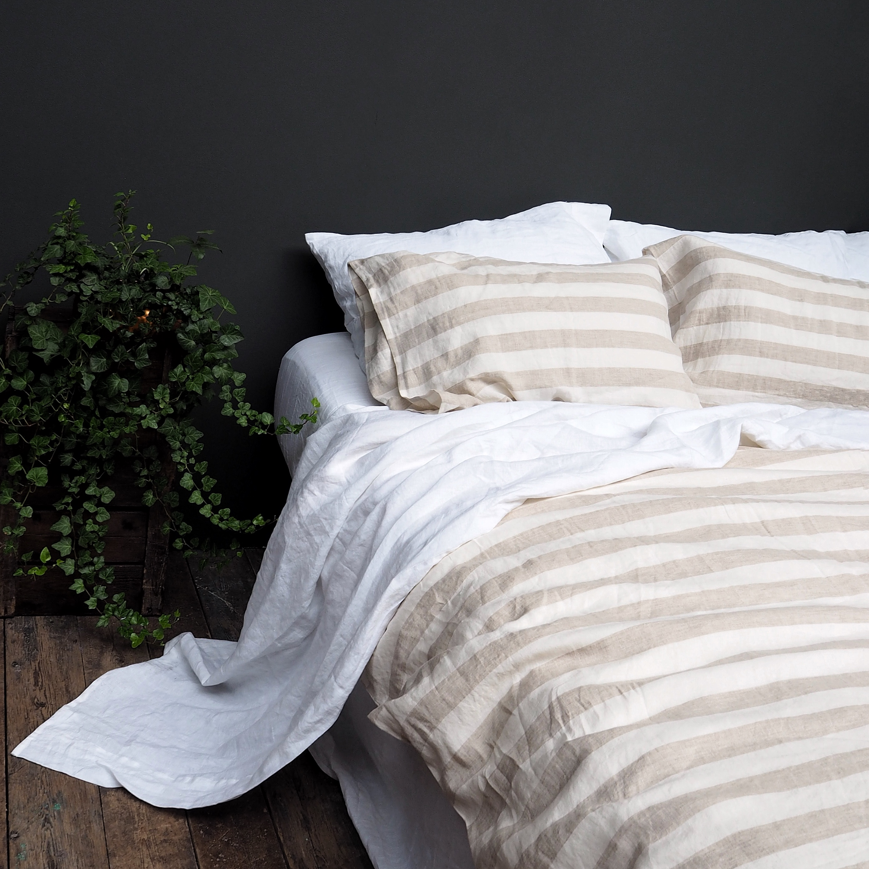 7 Best Places To Buy Pure Linen Bedding   Milk Honey Striped Linen Duvet  Cover From
