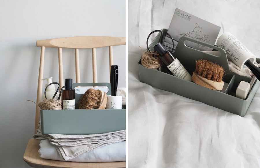 Handy tool box for household objects and cleaning products. Fresh laundry - French linen bedding - How to care for your bed linen, with eco-friendly dry cleaners BLANC London [AD]