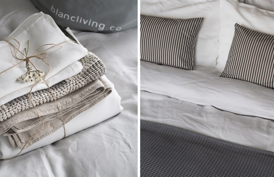 Fresh laundry - Grey linen bedding - How to care for your bed linen, with eco-friendly dry cleaners BLANC London [AD]
