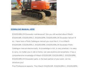 Hitachi Ex225usr Ex225usrlc Ex225usrk Ex225usrlck Excavator Parts Catalog Manual