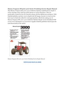 Massey Ferguson Mf 3000 3100 Series Workshop Service Repair Manual