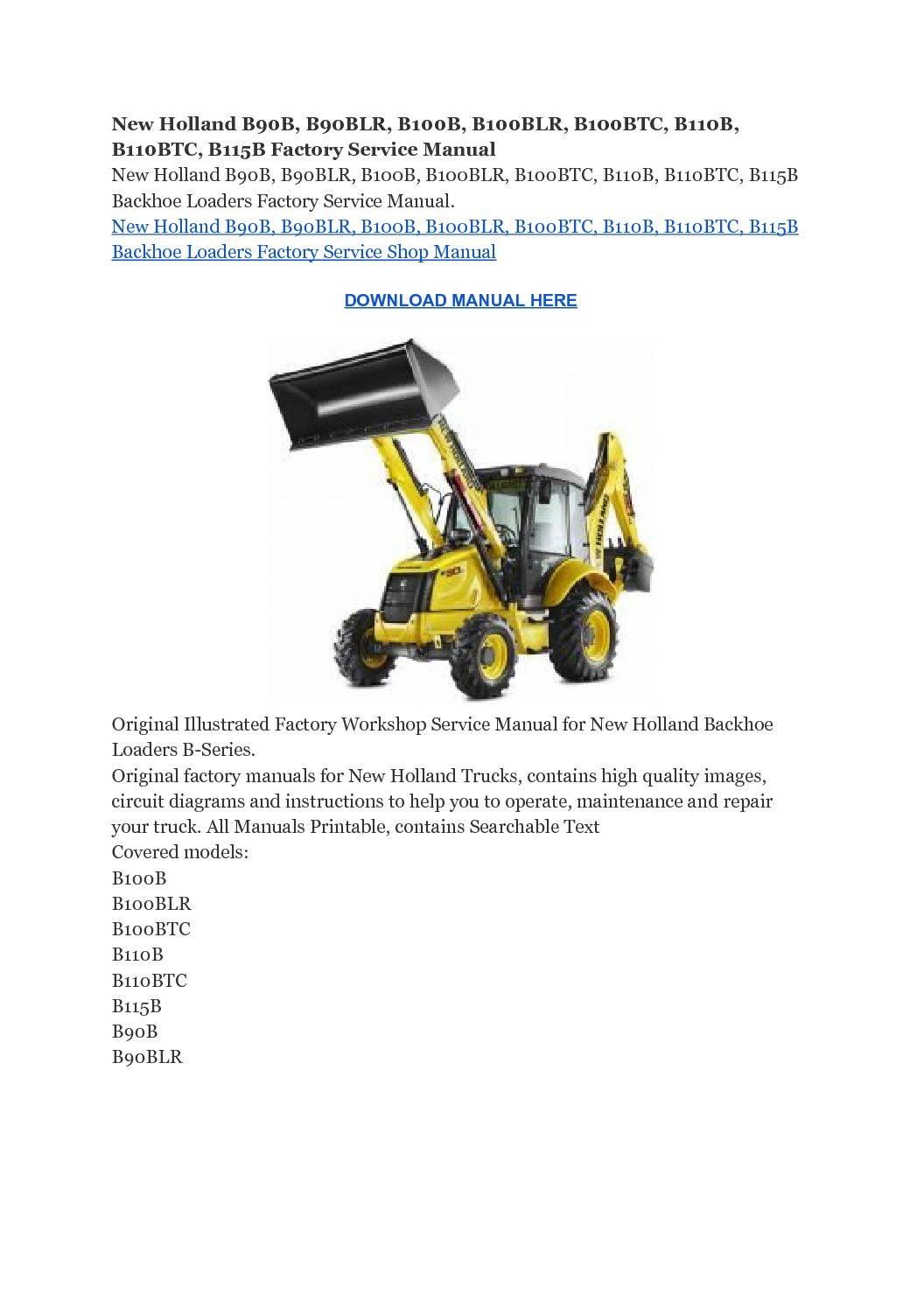 New Holland B90B, B90BLR, B100B, B100BLR, B100BTC, B110B, B110BTC, B115B Factory Service Manual