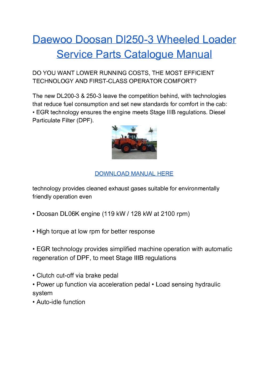 Doosan Dl250-3 Wheel Loader Service Repair Workshop Manual