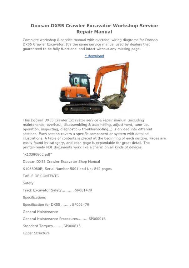 Doosan Daewoo Dx55 Excavator Parts Catalogue Pdf Manual