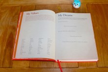 Daily Greatness Journal - personal values and big dreams, two page spread