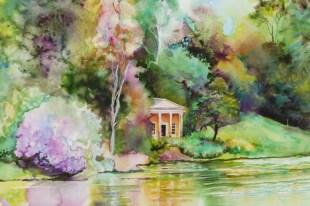 Temple on the lake, Stourhead Gardens (detail) watercolour