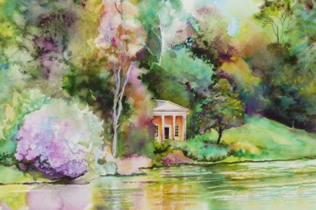Temple on the lake, Stourhead Gardens (detail) watercolour