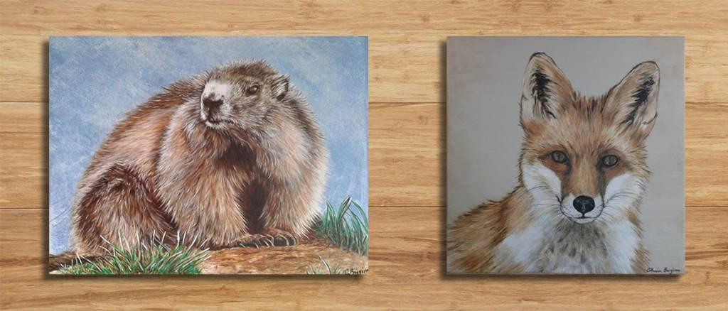tableau sur mesure marmotte et renard acrylique sur bois