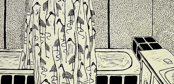 Bathroom Connel's Point, lino cut, 1m x .5m