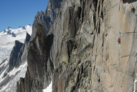 "© R.Robert, Catherine Destivelle climbing on Grand Capucin for the film  "" Beyond The Summit"""