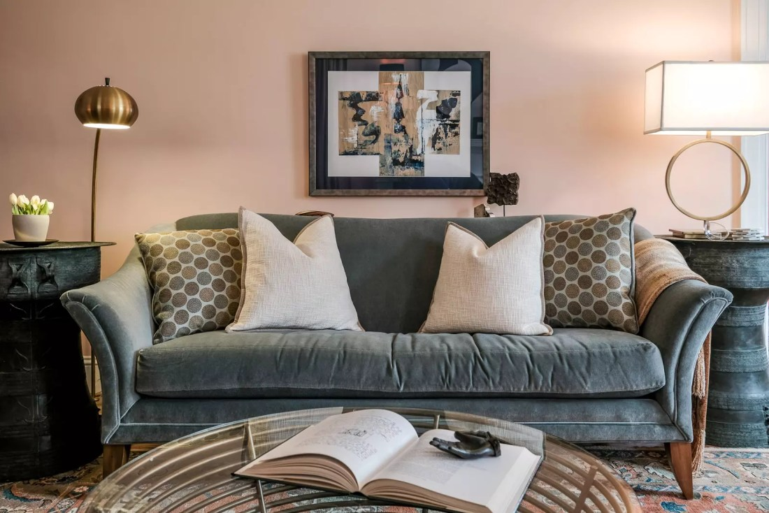 Elevated Eclectic Sofa with Lamps