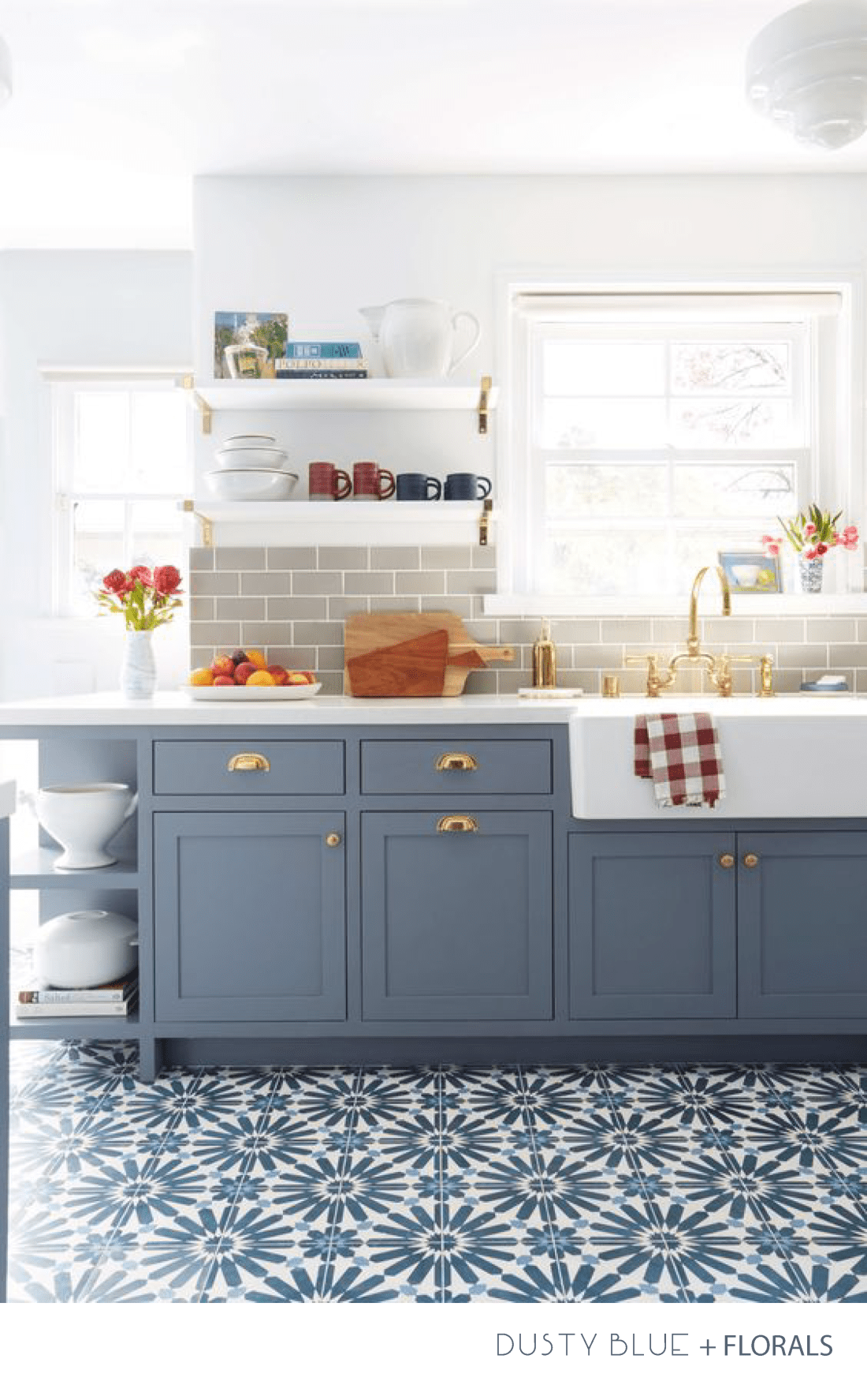 Interior Design Kitchen - Dusty Blue, Florals and Brass