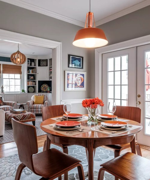 Breakfast Area with Orange Accents