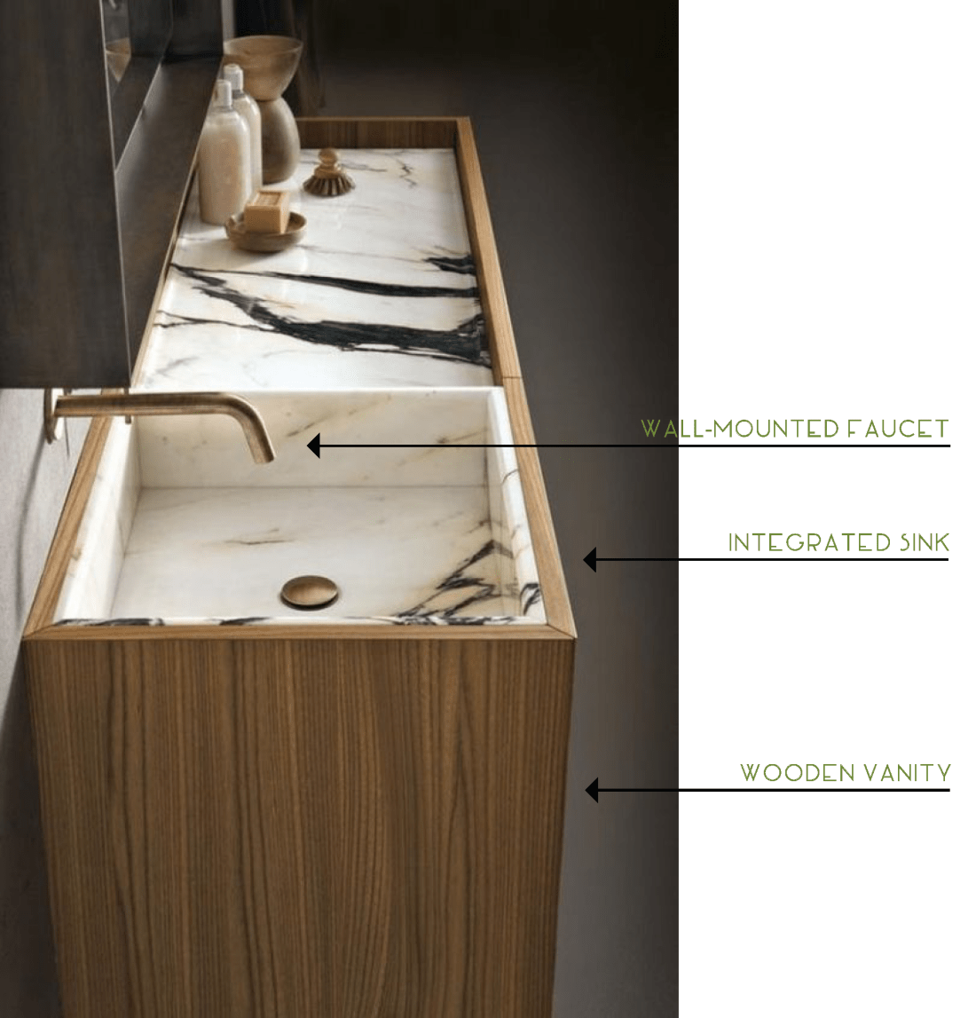 Integrated Sink and Wooden Vanity