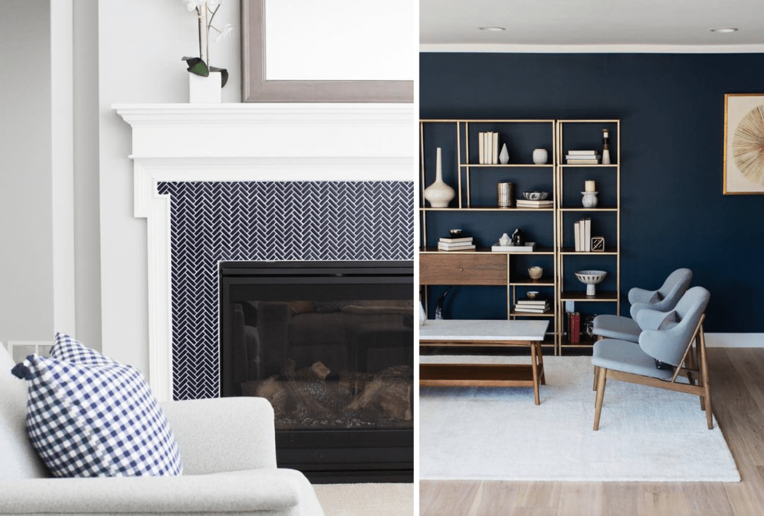 Navy Blue mantle Tiles and Navy Blue Wall