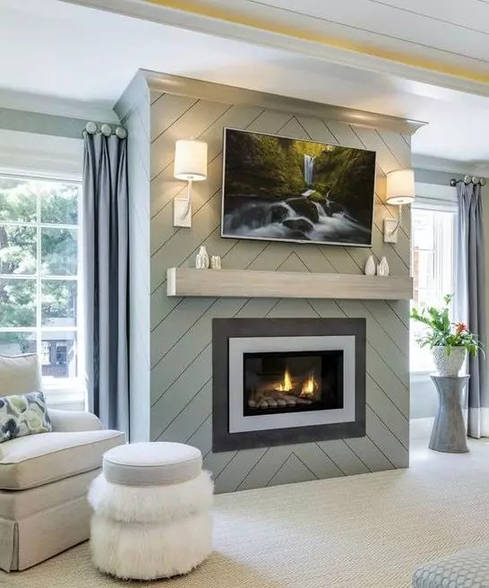 Fireplace Accent Wall with Chevron - Catherine French Design