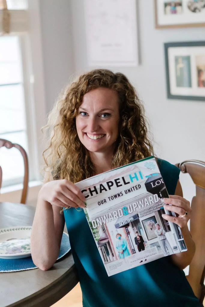 Cat French Posing with Chapel Hill Magazine - Catherine French Design