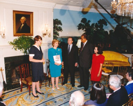 Presenting the ABA report with the Honorable Leon A. Higginbotham,Jr. and ABA President Michael McWilliams to First Lady Hillary Rodham Clinton and Attorney General Janet Reno, 1993.