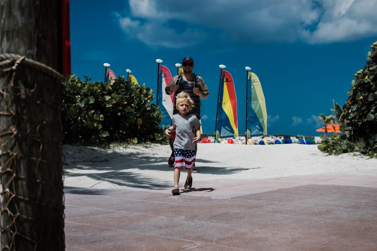 little boy and dad on beach disney dream cruise orlando florida castaway cay bahamas {virginia beach lifestyle newborn child couples family engagement photographer}