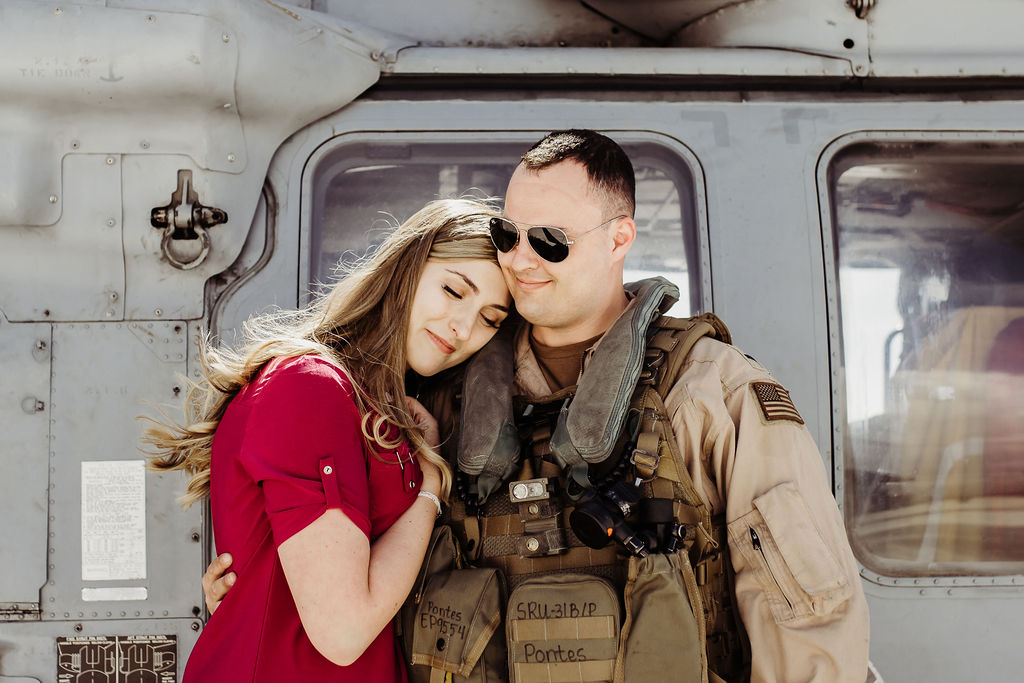 wife waiting for military husband NAS naval base coronado us navy helicopter homecoming {san diego lifestyle newborn child couples family maternity engagement photographer}