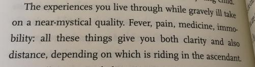 The experiences you live through while gravely ill take on a near-mystical quality. Fever, pain, medicine, immobility: all these things give you both clarity and also distance, depending on which is riding in the ascendant.