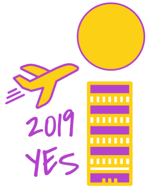 2019 Yes Campaign Poster, Plane flying over skyscraper toward sun